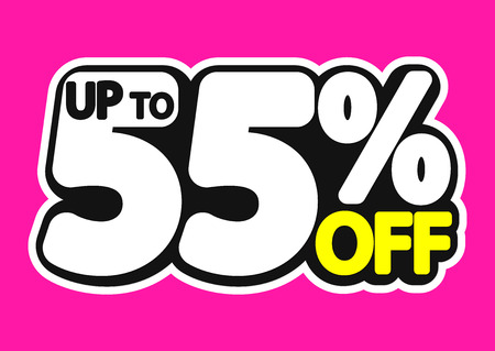Sale tag, up to 55% off, sticker, poster banner design, discount banner, vector illustration