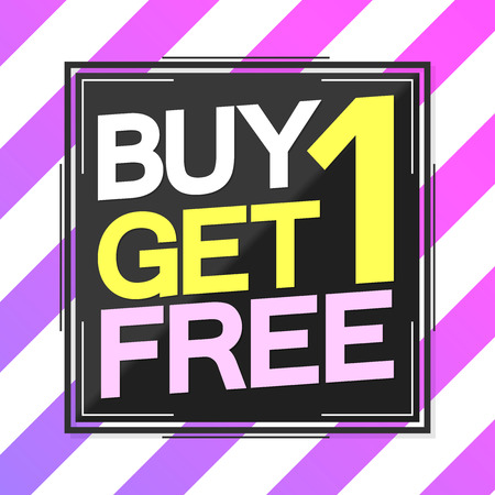 Buy 1 Get 1 Free, Sale poster template, half price, vector illustration  イラスト・ベクター素材