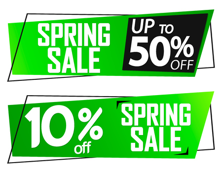 Spring Sale banners, up to 10 and 50% off, discount tags design template, vector illustration Ilustração
