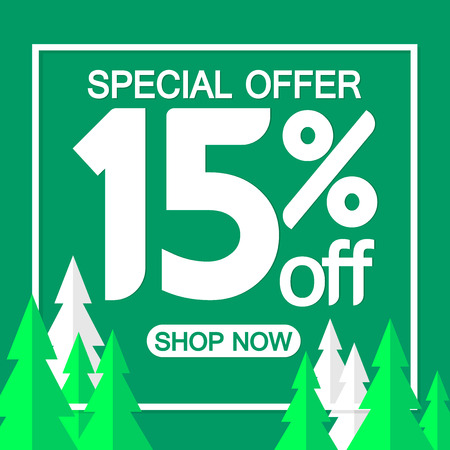 Christmas Sale 15% off, poster design template, special offer, vector illustration Ilustração