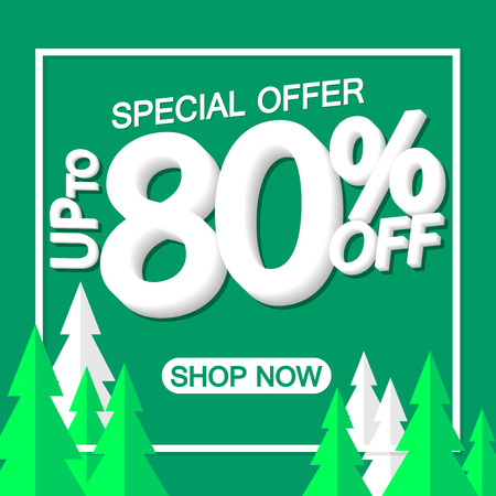 Christmas Sale up to 80% off, poster design template, special offer, vector illustration