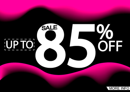 Sale up to 85% off, poster design template, vector illustration