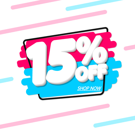 Sale 15% off, discount banner design template, extra promo tag, vector illustration 向量圖像