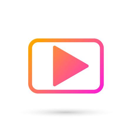 Play logo design template, isolated media logotype, player symbol, vector illustration Illustration