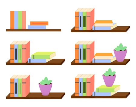 Set bookshelf design templates, collection isolated icons, vector illustration