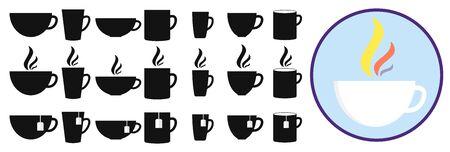 Définir le modèle de conception d'icônes de tasses à café et de tasse à thé, collection de symboles d'application plate isolée, illustration vectorielle