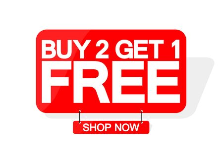 Buy 2 Get 1 Free, sale banner design template, discount tag, great offer, vector illustration