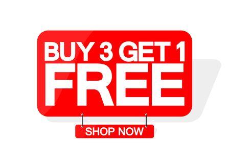 Acquista 3 prendi 1 gratis, modello di progettazione banner di vendita, tag sconto, grande offerta, illustrazione vettoriale