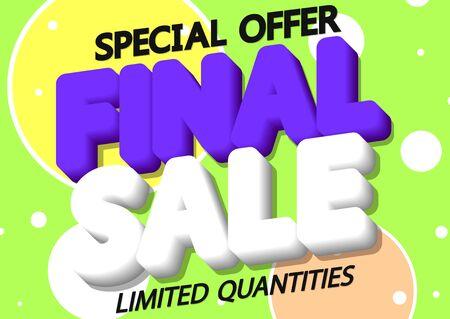 Final Sale, discount poster design template, special offer, vector illustration