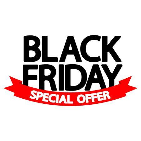 Black Friday Sale, red ribbon, poster design template, special offer, vector illustration Illusztráció