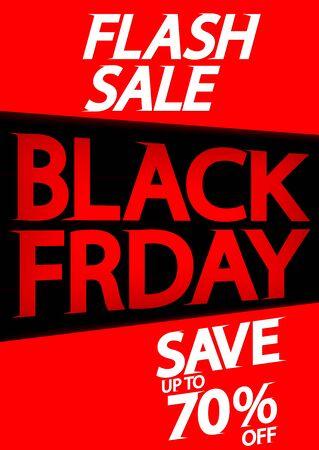 Black Friday, Flash Sale poster design template, save 70% off, final offer, vector illustration Stock fotó - 129514791