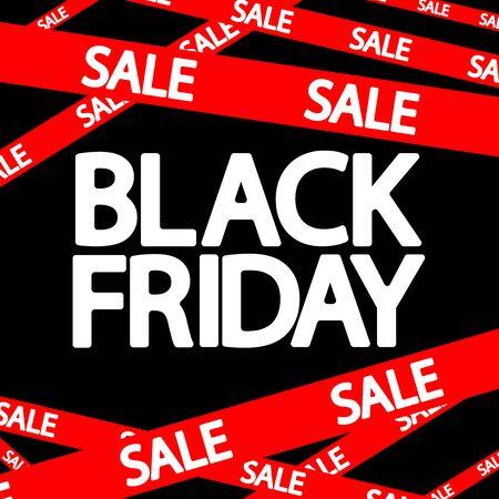 Black Friday Sale, red ribbon, poster design template, final season offer, vector illustration Stock fotó - 129514800
