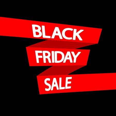 Black Friday Sale, red ribbon, poster design template, final season offer, vector illustration Stock fotó - 129514799