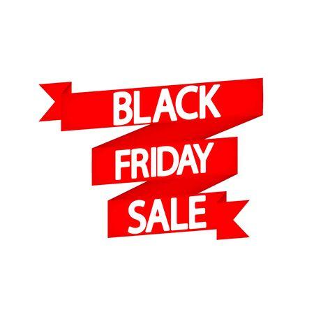 Black Friday Sale, red ribbon, poster design template, final season offer, vector illustration Stock fotó - 129514797