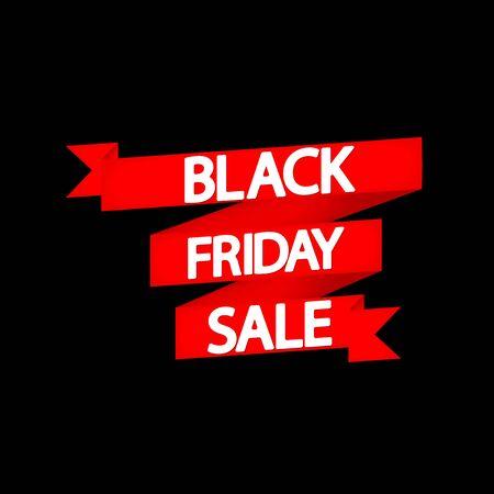 Black Friday Sale, red ribbon, poster design template, final season offer, vector illustration Stock fotó - 129514798