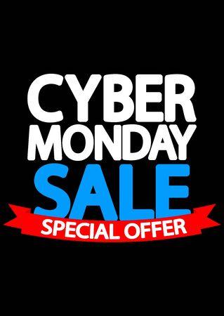 Cyber Monday Sale, poster design template, special offer, vector illustration Stock fotó - 129514811
