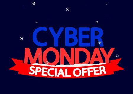 Cyber Monday Sale, poster design template, special offer, vector illustration Stock fotó - 129514817