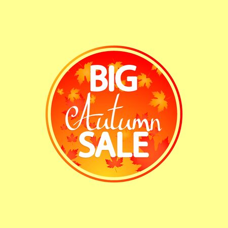 Big Autumn Sale, banner design template, discount tag, Fall offer, app icon, vector illustration Stock fotó - 129514813