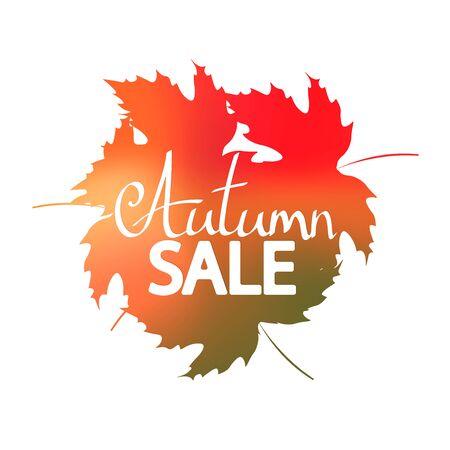 Jesienna wyprzedaż, szablon projektu banera, tag rabatowy, oferta jesienna, ikona aplikacji, ilustracja wektorowa