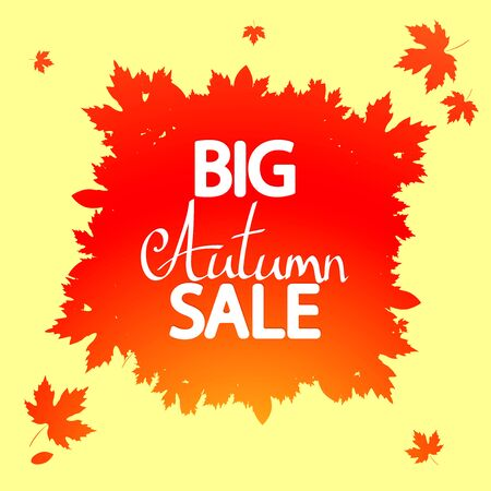 Autumn Sale, poster design template, Fall offer, vector illustration
