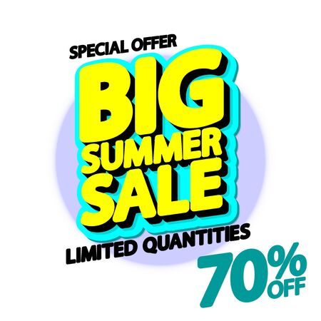 Big Summer Sale up to 70% off, poster design template, special deal, vector illustration  イラスト・ベクター素材