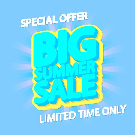 Big Summer Sale, poster design template, special offer, vector illustration