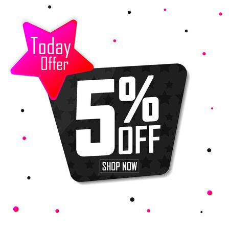 Sale 5% off, discount banner design template, promo tag, today offer, vector illustration 写真素材 - 129840928