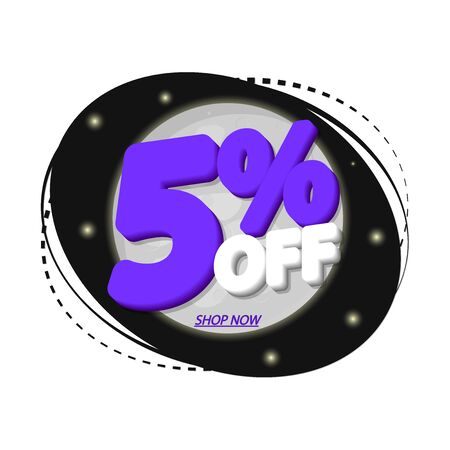 Sale 5% off, discount banner design template, promo tag, vector illustration