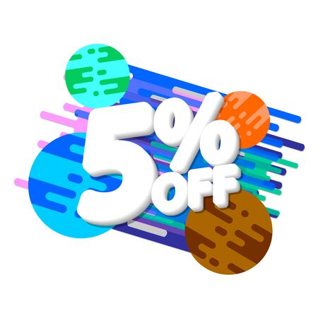 Sale 5% off, discount banner design template, promo tag, vector illustration 写真素材 - 129840931