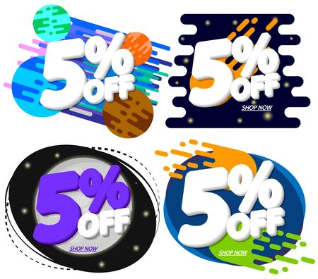 Set Sale 5% off, discount banners design template, extra promo tags, space offers, vector illustration