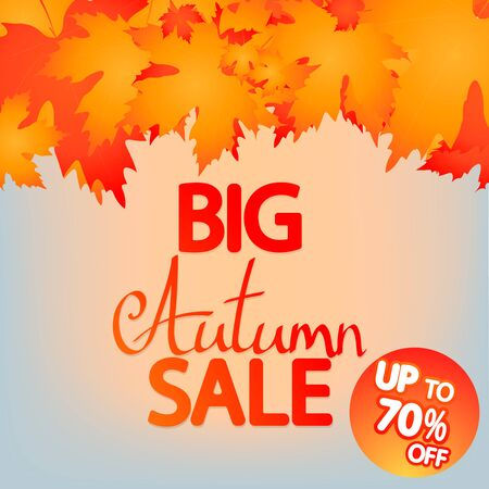 Big Autumn Sale, up to 70% off, poster design template, Fall offer, great deal, mega season discount banner, vector illustration 写真素材 - 129840974