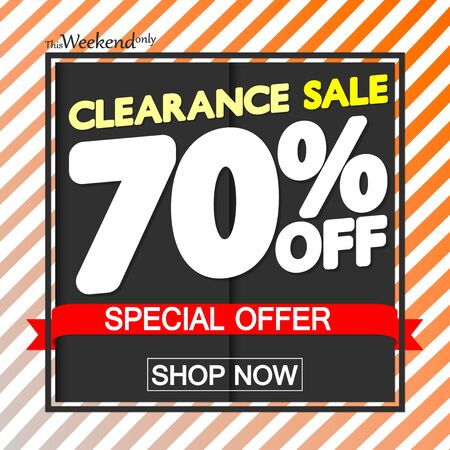 Clearance Sale up to 70% off, poster design template, special offer, vector illustration 写真素材 - 129840975