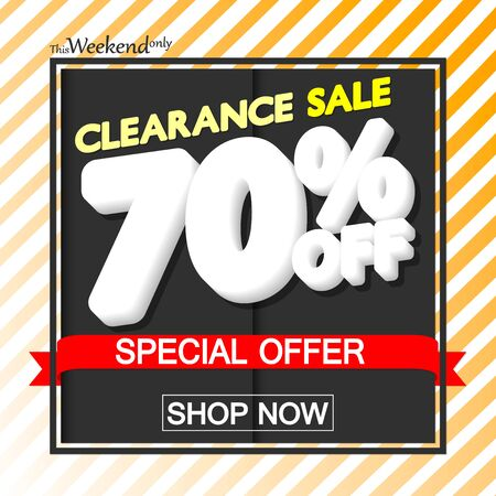 Clearance Sale up to 70% off, poster design template, special offer, vector illustration