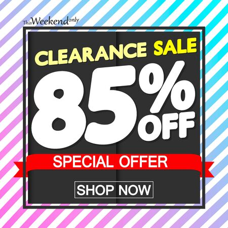 Clearance Sale 85% off, poster design template, special offer, vector illustration 写真素材 - 129840983