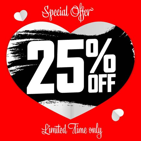 Valentines Day Sale, 25% off, banner design template, discount poster, grunge brush, vector illustration  イラスト・ベクター素材
