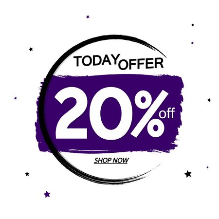 Sale 20% off, banner design template, discount tag, grunge brush, today offer, vector illustration