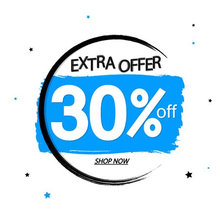 Sale 30% off, banner design template, today offer, discount tag, grunge brush, vector illustration  イラスト・ベクター素材