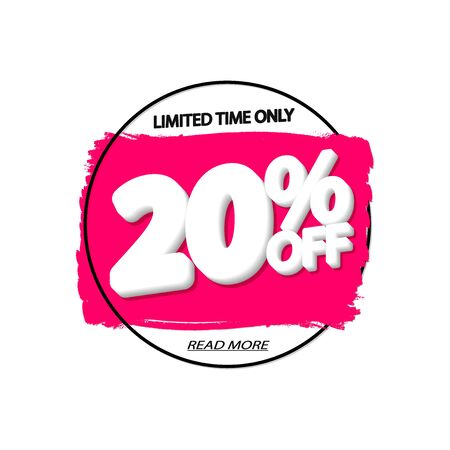 Sale 20% off, banner design template, discount tag, grunge brush, vector illustration 写真素材 - 129841011