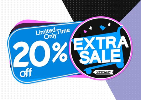 Extra Sale 20% off, tags design template, discount banners, vector illustration