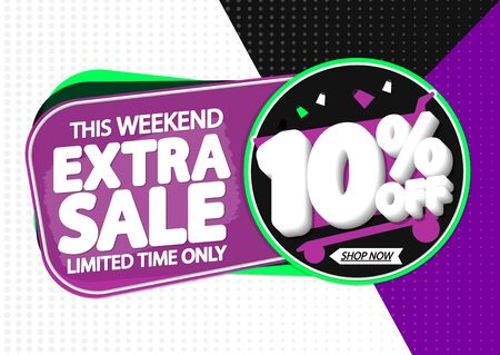 Extra Sale 10% off, tags design template, discount banners, vector illustration