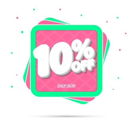 Sale 10% off, discount banner design template, promo tag, vector illustration Фото со стока - 129841069