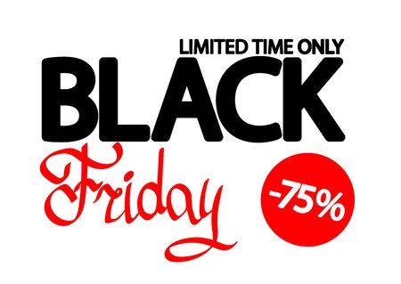 Black Friday Sale, poster design template, 75% off, vector illustration 写真素材 - 129841129