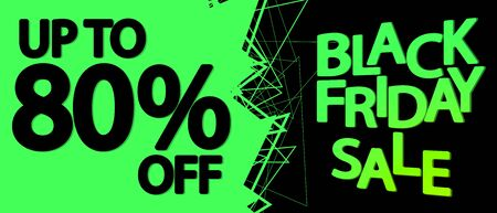 Black Friday Sale, up to 80% off, horizontal poster design template, final offer, discount web banner, vector illustration 写真素材 - 129841132