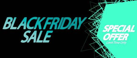 Black Friday Sale, horizontal poster design template, special offer, discount web banner, vector illustration