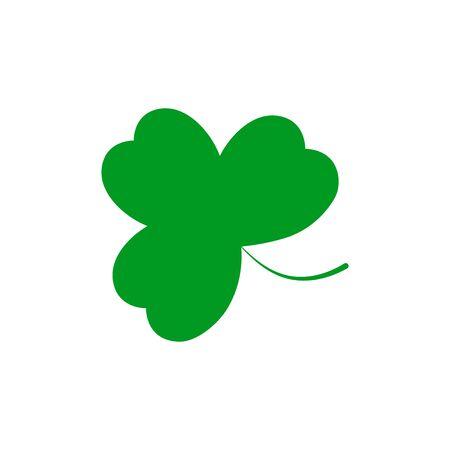 Clover icon, Patricks Day symbol, flat design template, three leaf, vector illustration