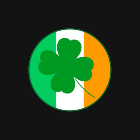 Clover icon, Patricks Day symbol, isolated sticker graphic design template, four leaf, vector illustration