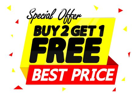 Buy 2 Get 1 Free, Sale banner design template, discount tag, special offer, app icon, vector illustration