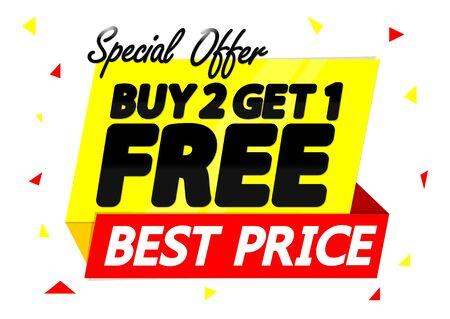 Koop 2 krijg 1 gratis, verkoop banner ontwerpsjabloon, kortingslabel, speciale aanbieding, app-pictogram, vectorillustratie