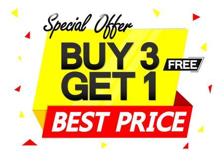 Compre 3 obtenga 1 gratis, plantilla de diseño de banner de venta, etiqueta de descuento, oferta especial, icono de aplicación, ilustración vectorial Ilustración de vector