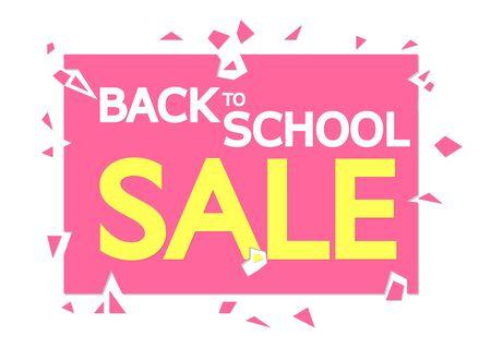 Back to School Sale, promotion banner design template, discount tag, vector illustration Illustration